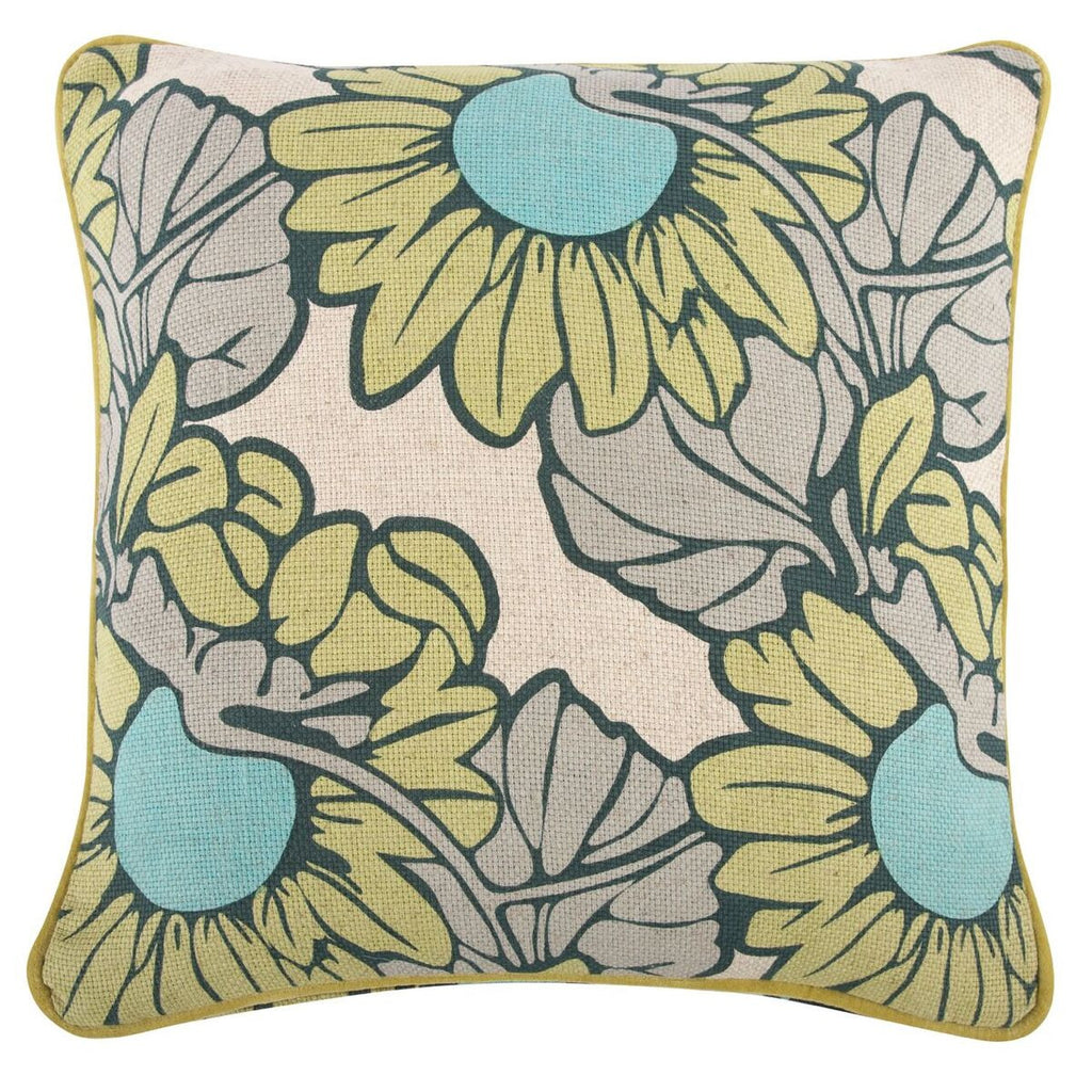 "Sunflower/Morris Pillow 18""x18"" design by Thomas Paul"