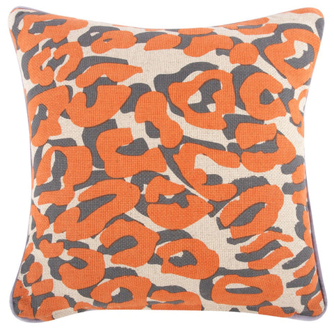 "Tulip/Leopard Pillow 18""x18"" design by Thomas Paul"