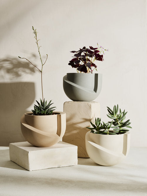VAYU Ceramic Tabletop Planter in Stone design by Light and Ladder