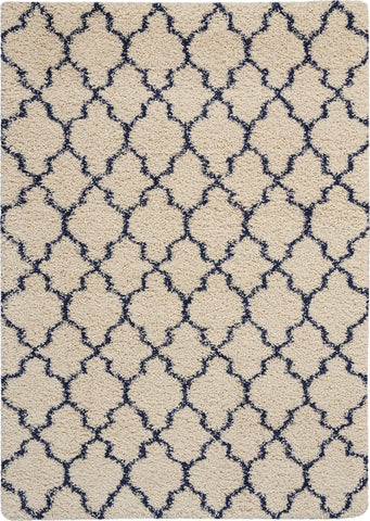 Amore Collection Shag Area Rug in Ivory and Blue by Nourison