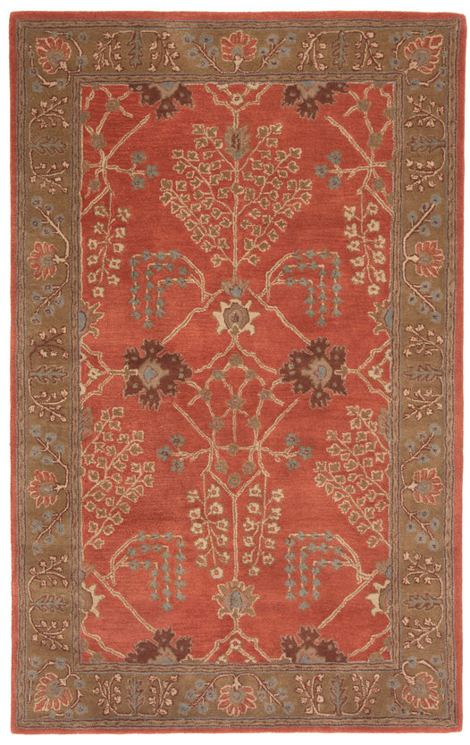 Chambery Handmade Floral Orange & Brown Area Rug