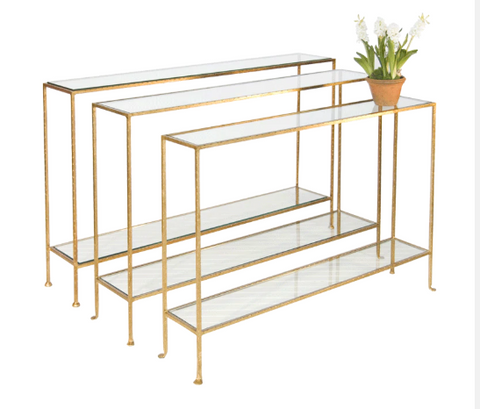 Small Hammered Gold Leaf Console with Clear Glass Shelves