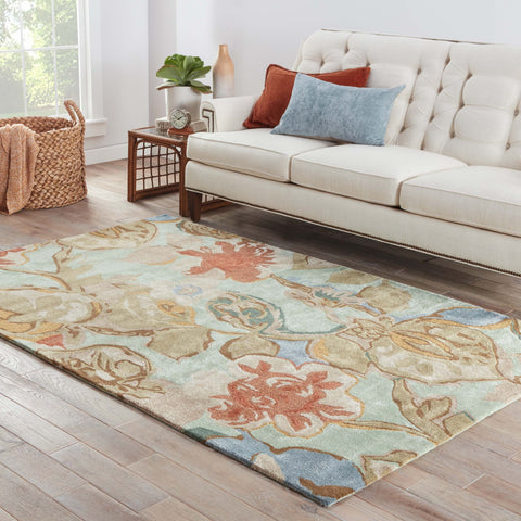 Petal Pusher Handmade Floral Green & Multicolor Area Rug