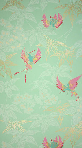 Grove Garden Wallpaper in aqua background Color