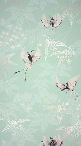 Grove Garden Wallpaper in fresh aqua background and silver accents Color