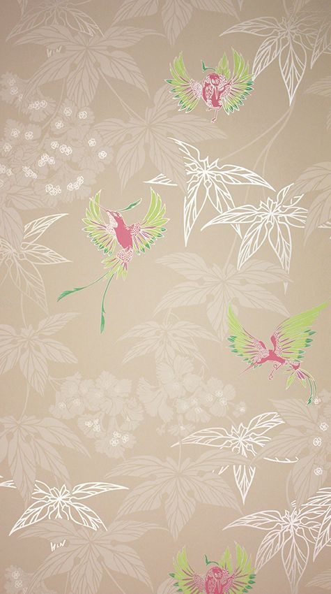 Grove Garden Wallpaper in buff background with gold-silver accents Color