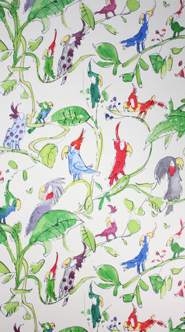 Cockatoos Wallpaper in Green and tan from the Zagazoo Collection by Osborne & Little