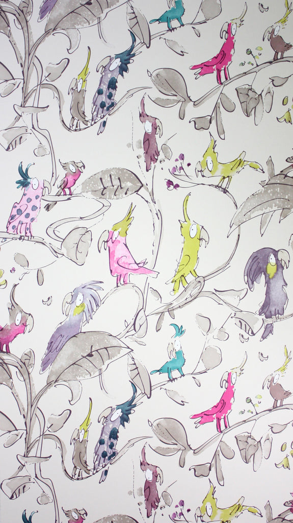 Sample Cockatoos Wallpaper in tan and Colourful from the Zagazoo Collection by Osborne & Little