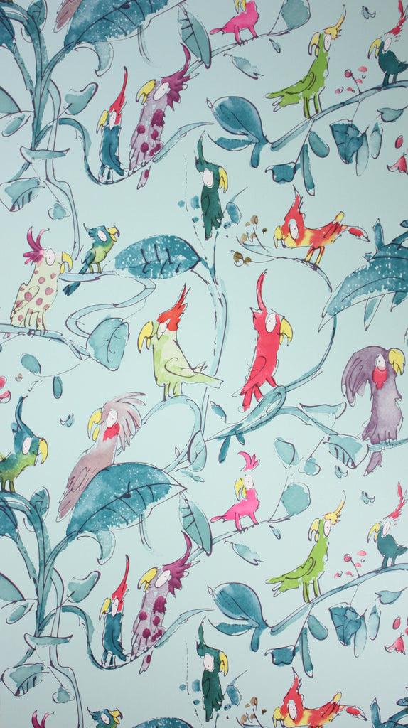 Cockatoos Wallpaper in turquoise from the Zagazoo Collection by Osborne & Little