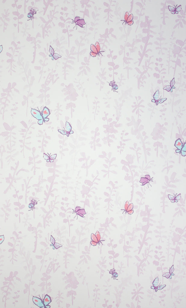 Sample Butterfly Meadow Wallpaper in purple from the Zagazoo Collection by Osborne & Little
