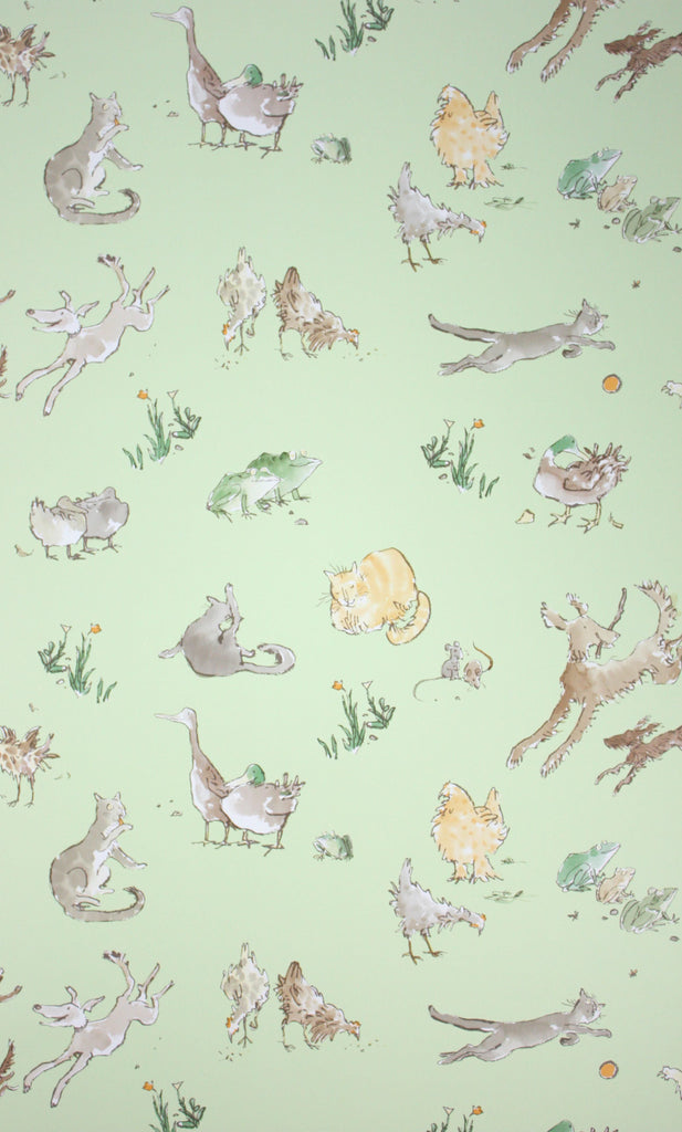 Sample Quentin'S Menagerie Wallpaper in green from the Zagazoo Collection by Osborne & Little