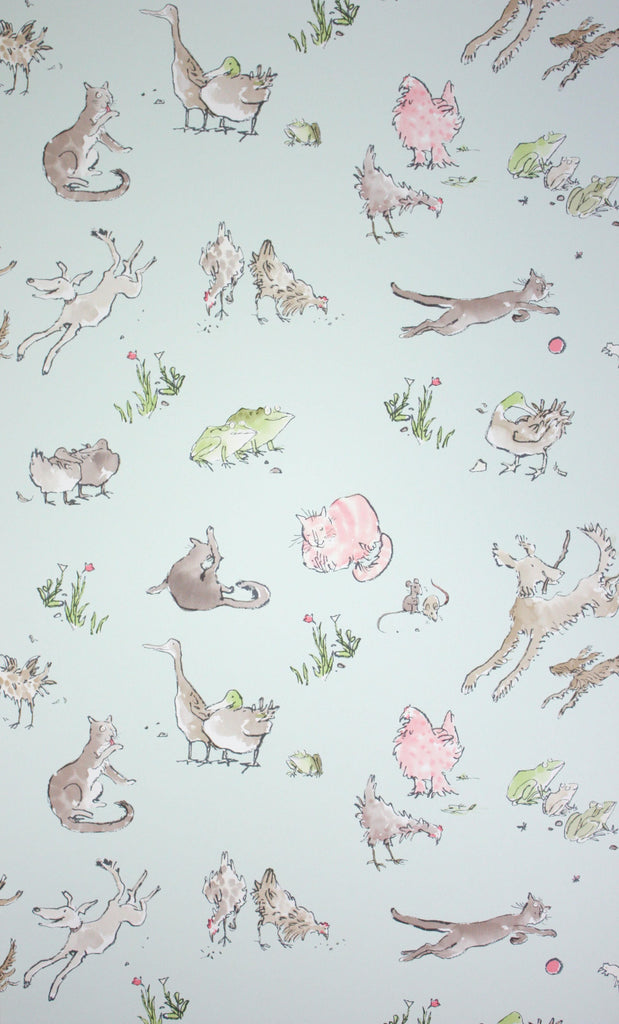 Sample Quentin'S Menagerie Wallpaper in Aqua and colorful from the Zagazoo Collection by Osborne & Little