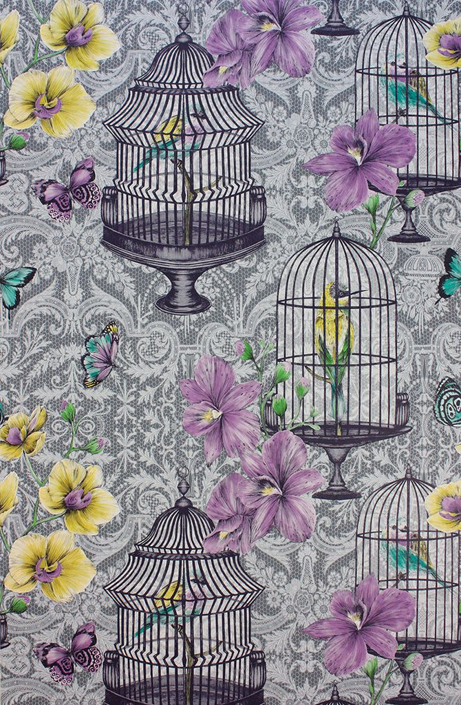 Orangery Wallpaper in Purple and lemon on a grey background from the Belvoir Collection by Matthew Williamson