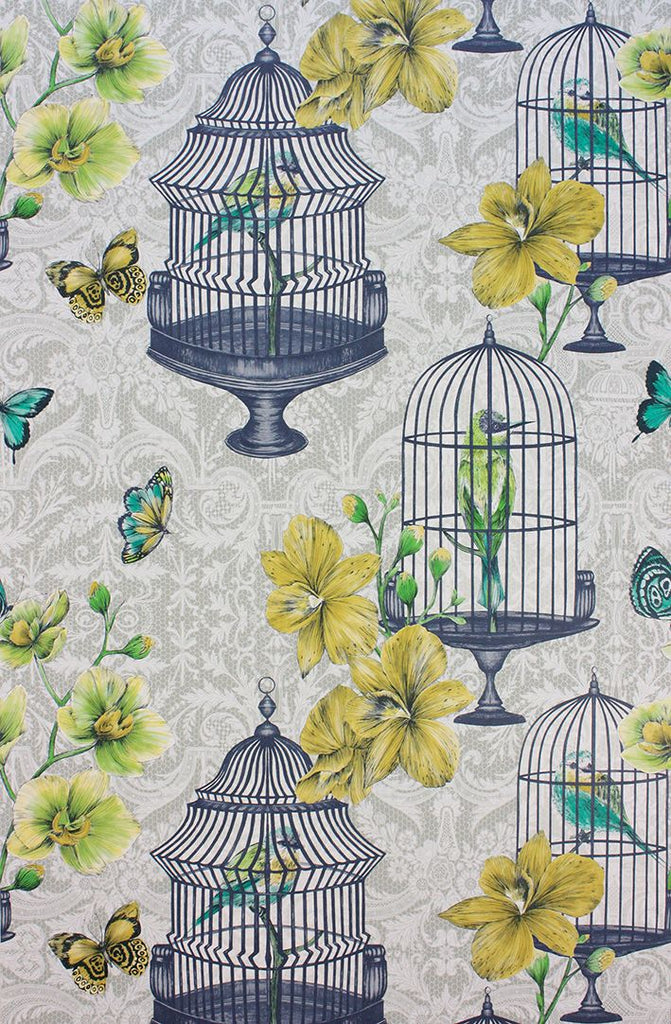 Sample Orangery Wallpaper in gray and lemon from the Belvoir Collection by Matthew Williamson