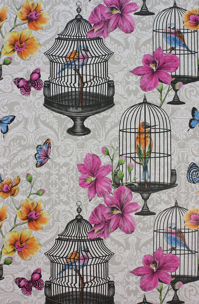 Orangery Wallpaper in Pink and light gray from the Belvoir Collection by Matthew Williamson