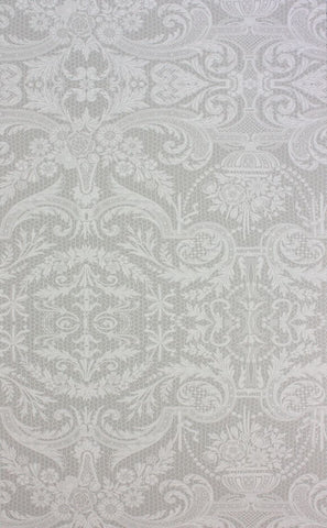Orangery Lace Wallpaper in silver from the Belvoir Collection by Matthew Williamson