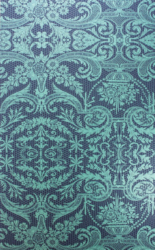 Sample Orangery Lace Wallpaper in turquoise from the Belvoir Collection by Matthew Williamson