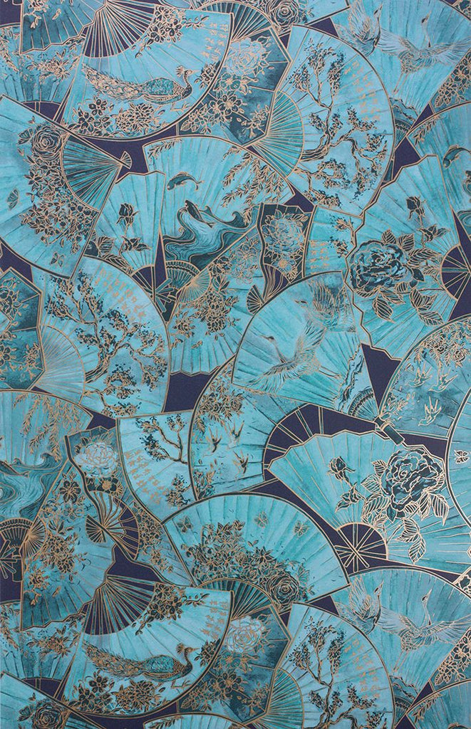 Fanfare Wallpaper in turquoise from the Belvoir Collection by Matthew Williamson