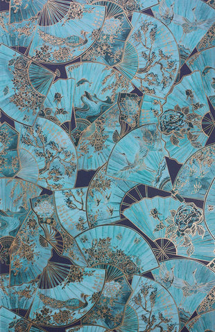 Sample Fanfare Wallpaper in turquoise from the Belvoir Collection by Matthew Williamson