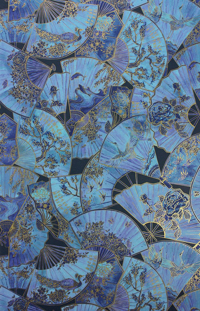 Fanfare Wallpaper in blue from the Belvoir Collection by Matthew Williamson