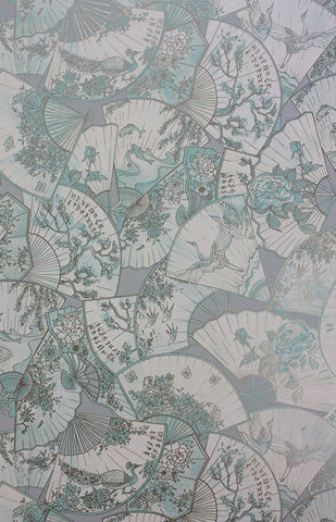 Fanfare Wallpaper in gray and tan from the Belvoir Collection by Matthew Williamson