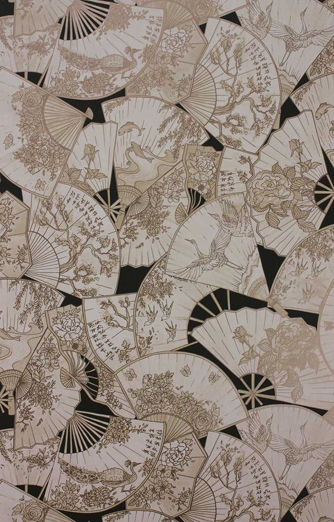 Sample Fanfare Wallpaper in black and beige from the Belvoir Collection by Matthew Williamson