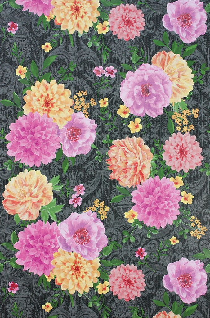 Duchess Garden Wallpaper in multi color on charcoal background by Matthew Williamson