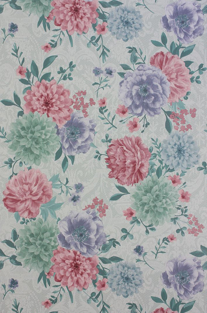 Sample Duchess Garden Wallpaper in Ice and Violet from the Belvoir Collection by Matthew Williamson