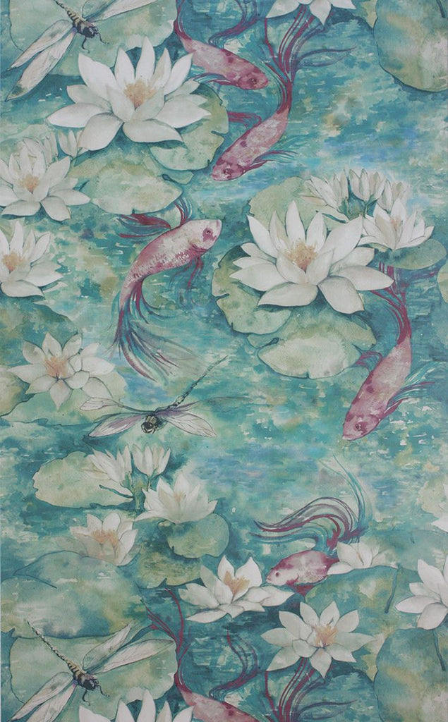 Sample Water Lily Wallpaper in turquoise from the Belvoir Collection by Matthew Williamson
