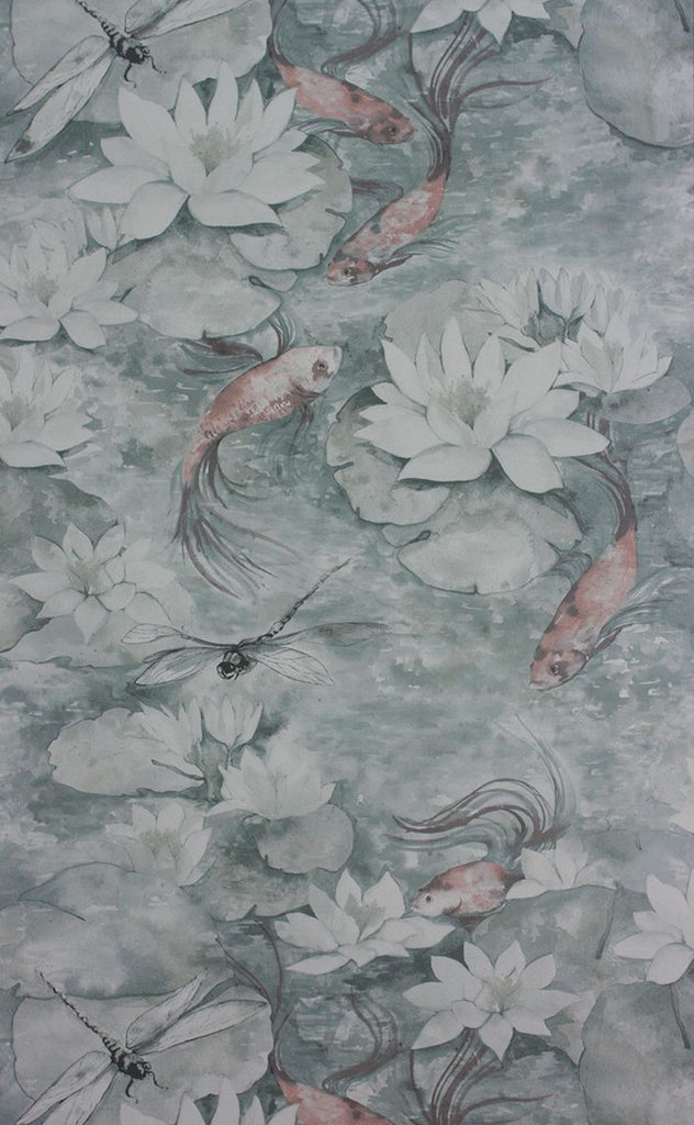Sample Water Lily Wallpaper in gray from the Belvoir Collection by Matthew Williamson