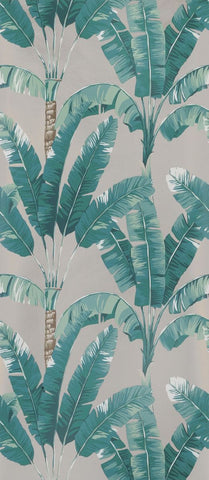 Palmaria Wallpaper in turquoise and tan from the Manarola Collection by Osborne & Little
