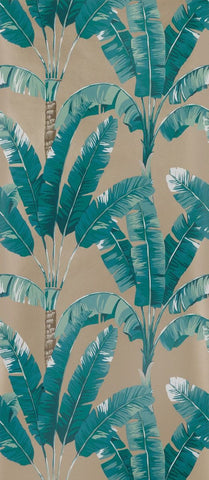 Palmaria Wallpaper in turquoise and beige from the Manarola Collection by Osborne & Little