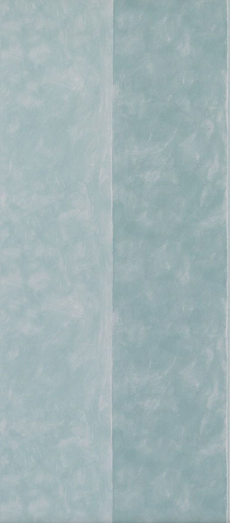 Sample Manarola Stripe Wallpaper in turquoise from the Manarola Collection by Osborne & Little