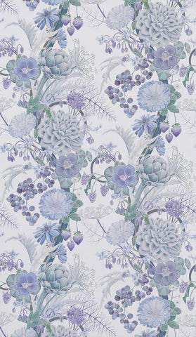 Carlotta Wallpaper in purple and gray from the Manarola Collection by Osborne & Little