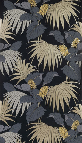 Vernazza Wallpaper in black and beige from the Manarola Collection by Osborne & Little