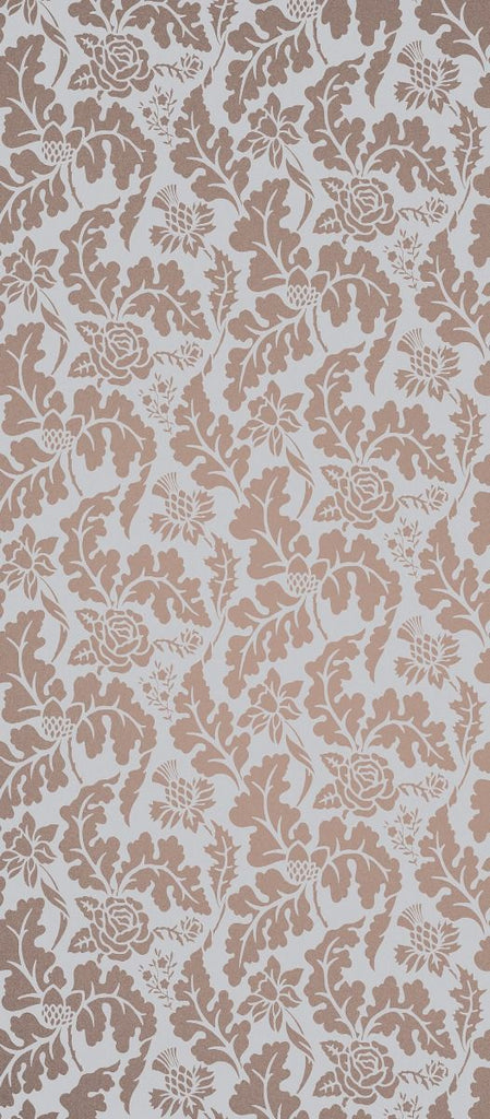 Sample British Isles Damask Wallpaper in brown from the Manarola Collection by Osborne & Little
