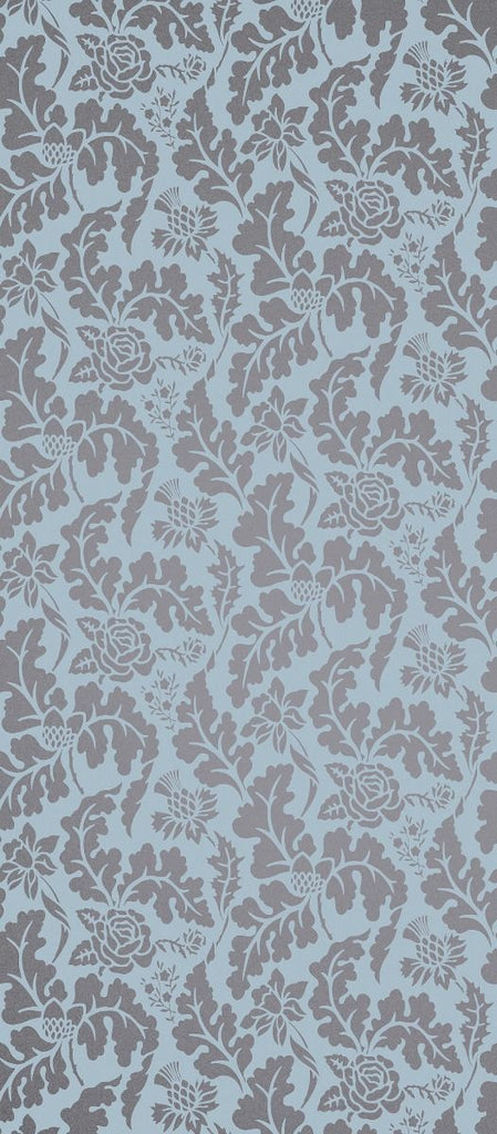 British Isles Damask Wallpaper in turquoise and gray from the Manarola Collection by Osborne & Little