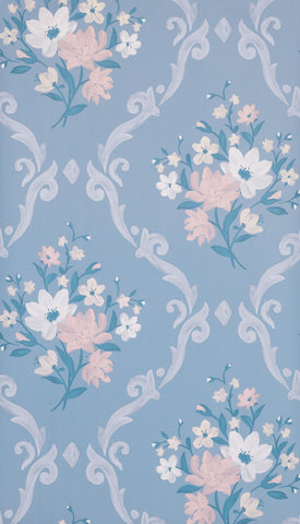 Almudaina Wallpaper in blue from the Deya Collection by Matthew Williamson
