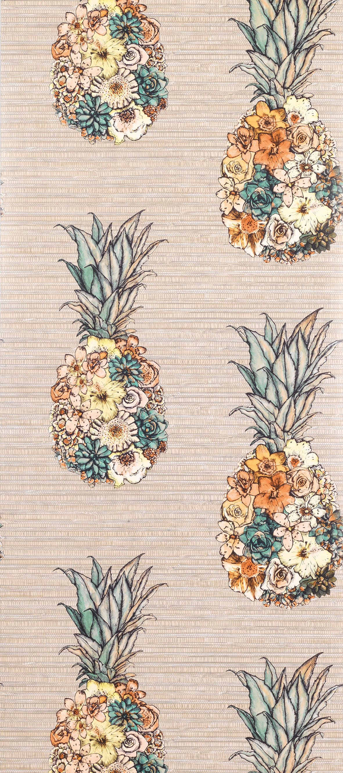 Sample Ananas Wallpaper in Beige from the Deya Collection by Matthew Williamson