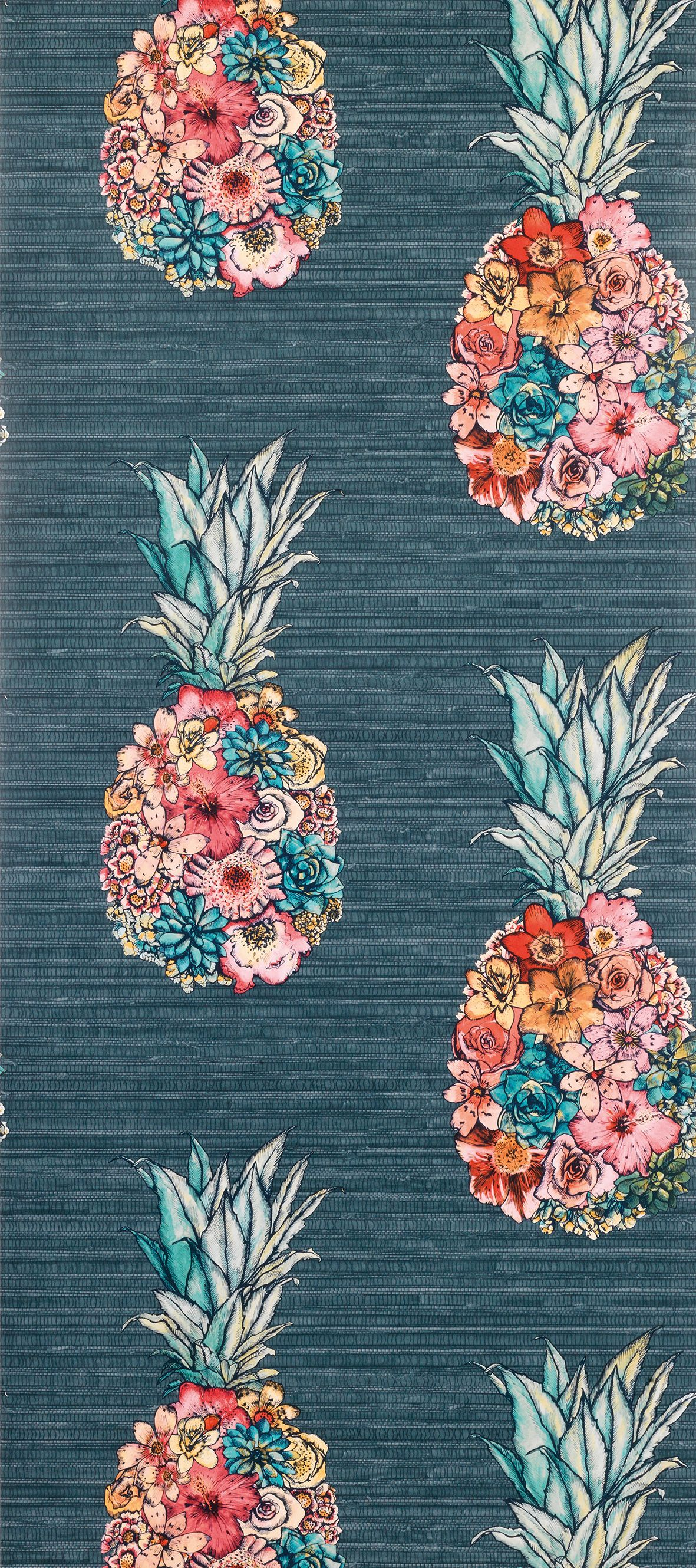 Sample Ananas Wallpaper With Colourful Petals from the Deya Collection by Matthew Williamson
