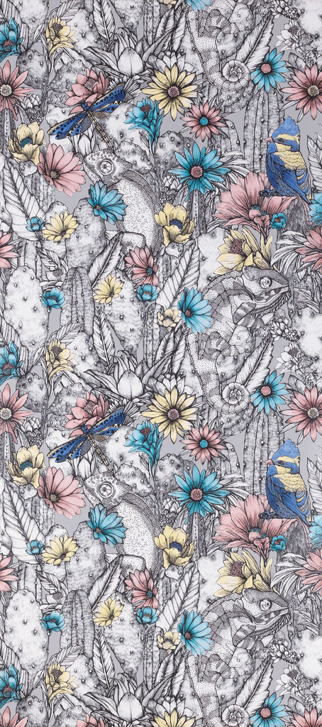 Cactus Garden Wallpaper in Lavender gray from the Deya Collection by Matthew Williamson