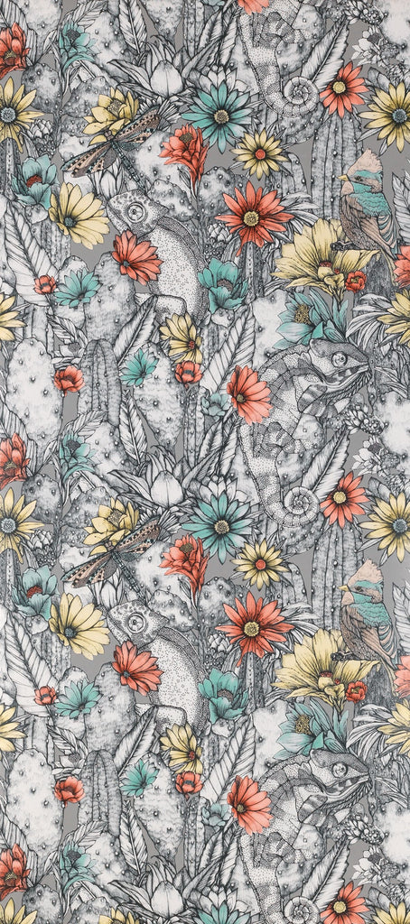 Cactus Garden Wallpaper with colorful flowers from the Deya Collection by Matthew Williamson