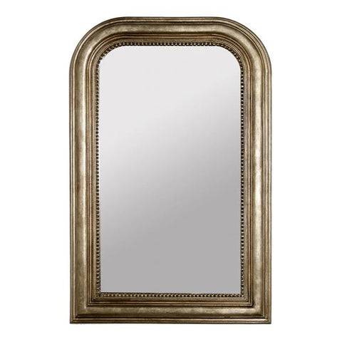 Waverly Hand Carved Champagne Silver Leaf Curved Top Rectangular Mirror design by BD Studio