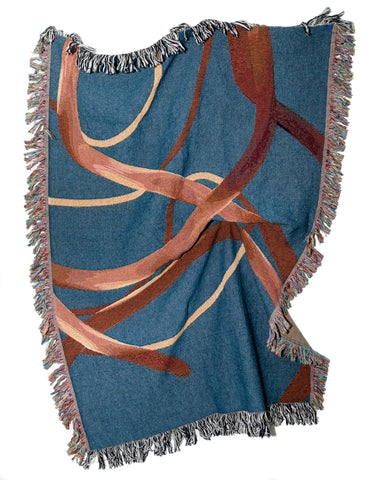 Wander Blue Woven Throw Blanket