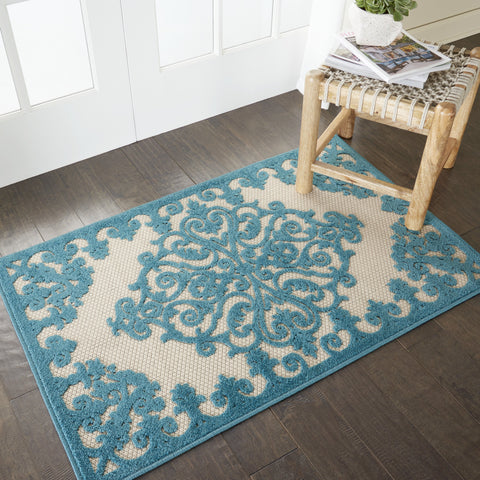 Aloha Indoor-Outdoor Rug in Aqua by Nourison