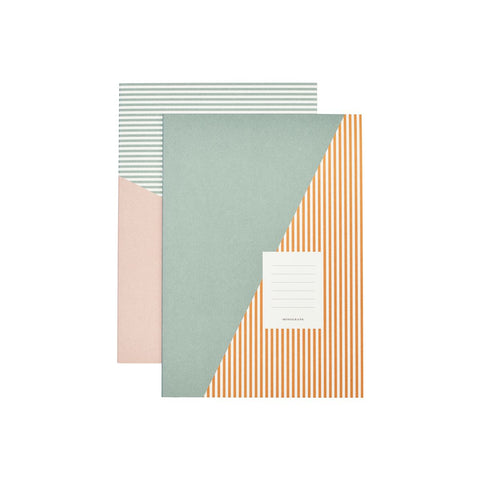 Orange Stripes Note Book Combo in A4 Set of 2 Designs