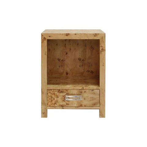 Winnie One Drawer Side Table w/ Acrylic Hardware in Burl Wood