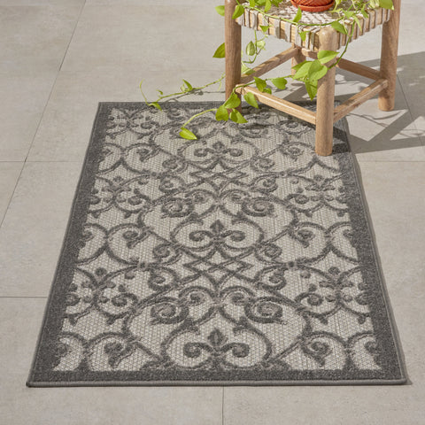 Aloha Indoor-Outdoor Rug in Grey & Charcoal by Nourison