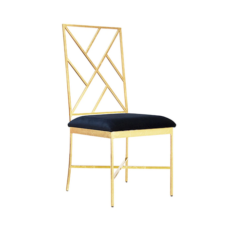 Fretwork Back Gold Leaf Chair with Velvet Cushion in Various Colors