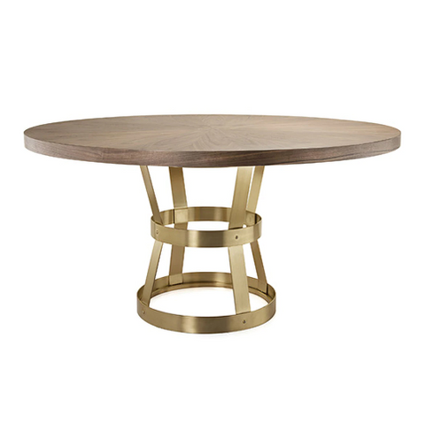 Industrial Style Dining Table Base in Antique Brass with Radial Walnut Top